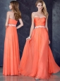 Cheap Fashionable Empire Sweetheart Beaded Bridesmaid Dress in Orange Red