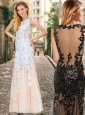 Cheap See Through Back Scoop Champagne Prom Dress with Appliques