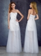 Cheap Short Inside Long Outside Tulle White Bridesmaid Dress with Appliques and Beading