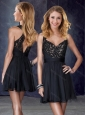 Cheap V Neck Black Bridesmaid Dress with Appliques and Belt