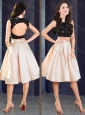 Elegant Two Piece Open Back Prom Dress in Champagne and Black