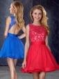 Hot Sale Scoop Backless Red Prom Dress with Appliques and Belt