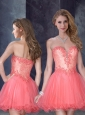 Laced Watermelon Red Prom Dress with Beading and Appliques
