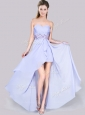 Low Price Short Inside Long Outside Lavender Bridesmaid Dress in Chiffon