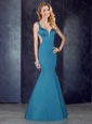 Mermaid Straps Teal Satin Prom Dress with See Through Back