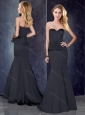 Mermaid Sweetheart Satin Prom Dress in Black with Brush Train