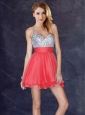 Modest Backless V Neck Sequined Short Prom Dress in Coral Red
