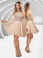 New Arrivals V Neck Champagne A Line Prom Dress with Sequins