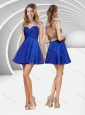 Popular See Through Beaded and Ruched Blue Short Bridesmaid Dress with Open Back