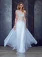 See Through Back One Shoulder Applique Bridesmaid Dress in Light Blue