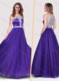 Sexy See Through Scoop Empire Purple Bridesmaid Dress with Beading