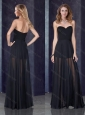 Short Inside Long Outside Black Prom Dress with Belt