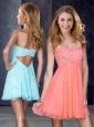 Simple Applique and Sequined Short Prom Dress in Peach