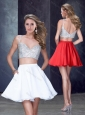 Two Piece Straps White Short Prom Dress with Beading