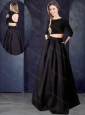 Two Piece Bateau Beaded Black Bridesmaid Dress with Three Fourths Length Sleeves