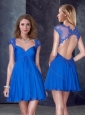 V Neck Backless Blue Prom Dress with Appliques and Beading