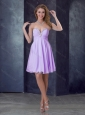 2016 Popular Empire Lilac Short Prom Dress with Beading