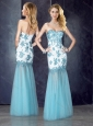 Beautiful Column Applique Aqua Blue Prom Dress in Tulle