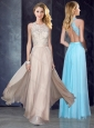 Cheap Elegant Scoop Criss Cross Applique Prom Dress in Champagne
