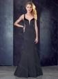 Cheap Mermaid Straps Satin Black Prom Dress with See Through Back