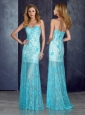 Cheap Short Inside Long Outside Beaded Baby Blue Prom Dress with in Lace
