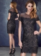 Elegant Column Scoop Short Sleeves Black Prom Dress in Lace