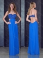 Empire Sweetheart Backless Blue Prom Dress with Beading and Appliques