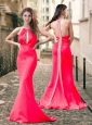 Exclusive High Neck Coral Red Prom Dress with Brush Train