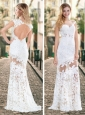 Gorgeous See Through Brush Train Laced  White Homecoming Dress with Cap Sleeves