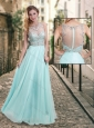 Latest See Through Scoop Beaded Prom Dress in Aqua Blue