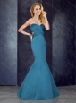Mermaid Sweetheart Backless Satin Prom Dress in Teal