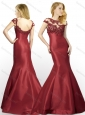 New Arrivals Applique Mermaid Brush Train Satin Prom Dress in Wine Red