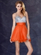 New Style Backless Orange Red Short Homecoming Dress with Sequins