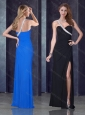 One Shoulder Black Prom Dress with High Slit and Beading