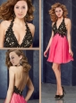Popular Halter Top Backless Laced Prom Dress in Coral Red and Black