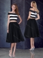 Princess Off the Shoulder Black Prom Dress with Cap Sleeves