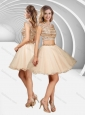 Two Piece Off the Shoulder A Line Sequined Prom Dress in Champagne