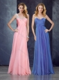 V Neck Applique Baby Pink Prom Dress with See Through Back