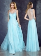 V Neck Applique Light Blue Homecoming Dress with See Through Back