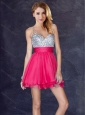 2016 Fashionable Sequined Backless Short Prom Dress in Hot Pink