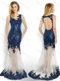 Beautiful Sequined and Applique Navy Blue Prom Dress with Brush Train