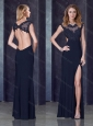 Column Backless Applique Black Modest Prom Dress with Beading and High Slit
