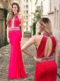 Column High Neck Backless Beaded Coral Red Modest Prom Dress