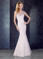 See Through Back Beaded Mermaid Champagne Junior Prom Dress in Satin