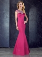 See Through Back Satin Beaded Modest Prom Dress in Hot Pink