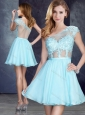 Cheap See Through One Shoulder Applique Prom Dress in Aqua Blue