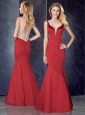 Mermaid Straps Satin Red Sexy Prom Dress with See Through Back