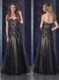 Top Selling Empire Applique Black Sexy Prom Dress in Tulle
