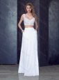 Two Piece Column Straps Applique Prom Dress in White