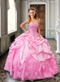 Beaded Rose Pink Quinceanera Dresses with Bubbles and Appliques